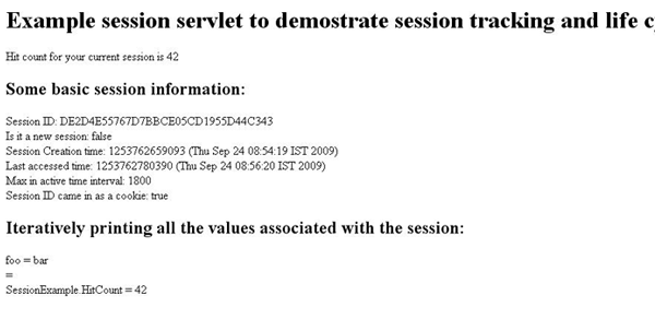 Output of the example session servlet