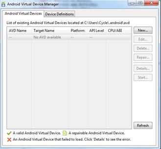Android Virtual Device Manager Setup