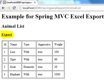 Excel Export Spring MVC