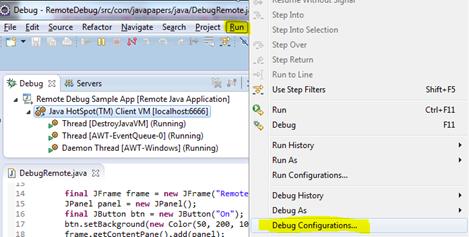 Eclipse debug configuration