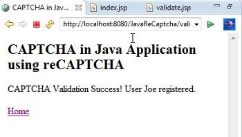 reCAPTCHA result