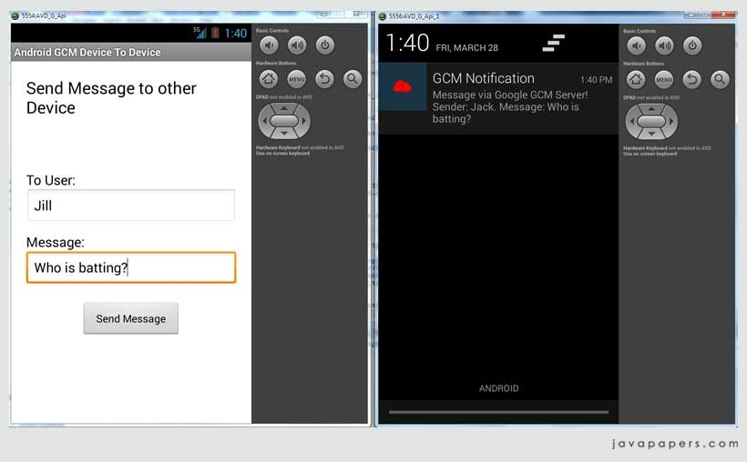 Android Device to Device Messaging using Google Cloud
