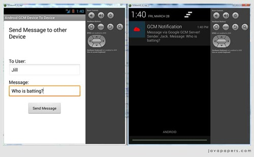 Android-Google-GCM-Device-To-Device-Message-Received