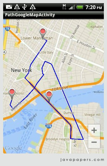 Draw Path on Google Maps Android API - Javapapers