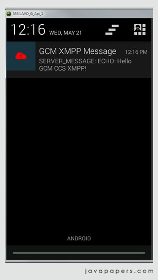 Google GCM CCS XMMP Downstream Message with Echo