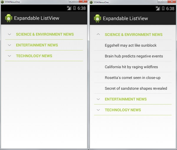 Android Expandable ListView - Javapapers