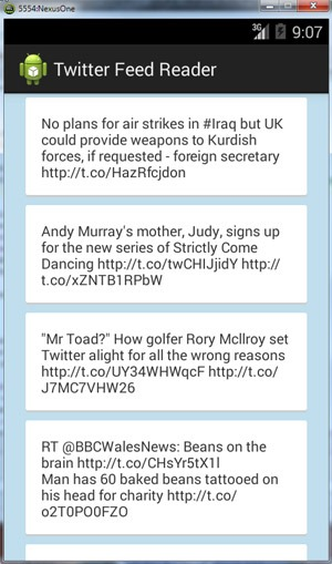 Android Twitter Feed Reader - Javapapers