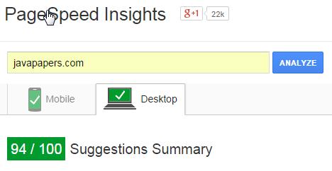 Google PageSpeed Performance