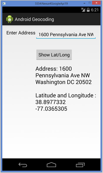 Android Geocoding to Get Latitude Longitude for an Address